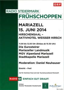 Ankündigung ORF-Frühschoppen Mariazeller Klostermarkt 2014